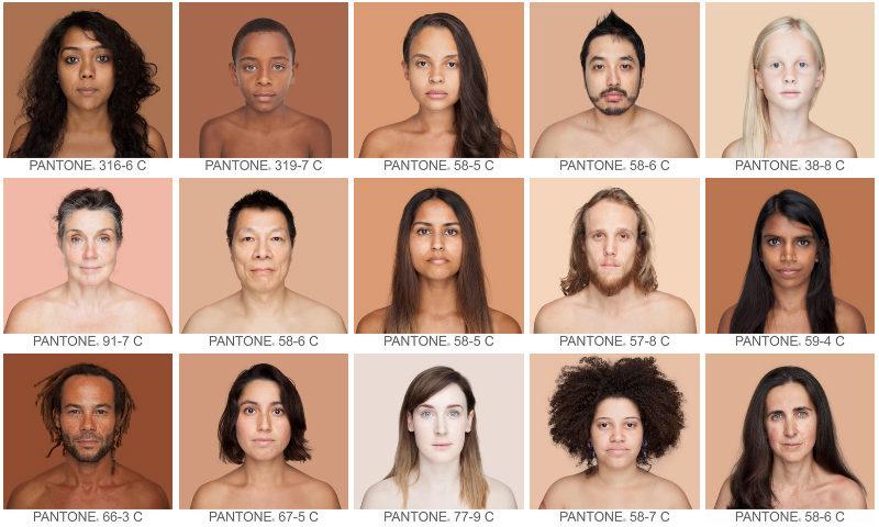 Мозаїка відтінків шкіри людей з усього світу, зібрана в стилі Pantone
