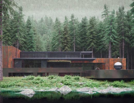 Corten Steel House in the Hinterland of the Ukrainian Forest.